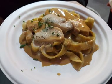 Chicken with foie gras on fettuccine