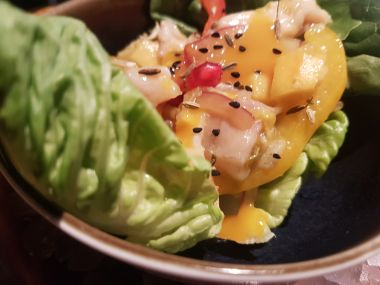 Creveche of Black Bream with Mango, Nigella and Pomegranate