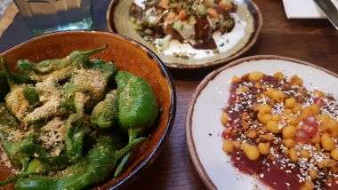 Starters - Chilies, Watermellon Chaat and Chickpea Chaat