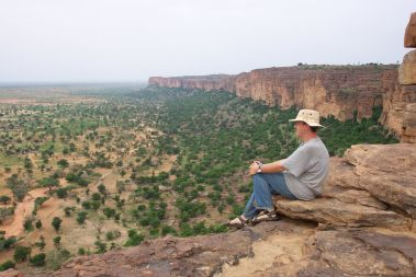 Me sitting on the top of the Dogon escarpment in Mali
