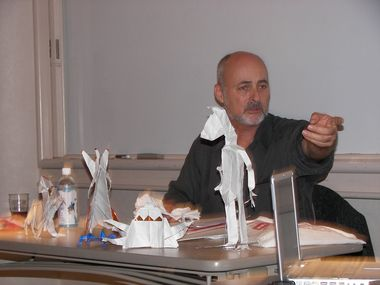 David Brin with Origami (SW)