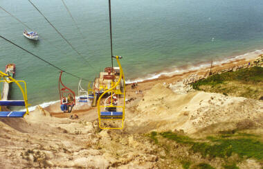Chairlift down to Alum Bay