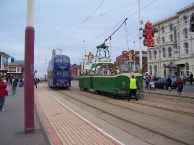 The Famous Trams on the Blackpool Promenade