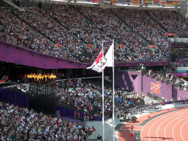 The Olympic Flame in the Stadium
