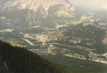 Banff From Sulphur Mountain (Banff Springs Hotel is to the right beside the river)