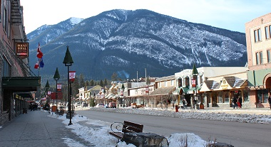 Banff Avenue with Sulphur Mountain in Distance